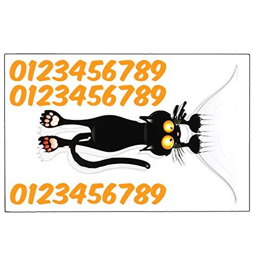 Unbekannt 2 Aufkleber Für Mülltonne Katze 31 Tlg Set Incl Zahlen Hausnummer Nummern Mülltonnenaufkleber Mülltonnensticker Sticker