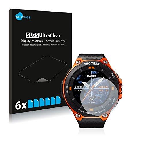 6x Savvies SU75 UltraClear Bildschirmschutz Schutzfolie für Casio WSD-F20 (ultraklar, mühelosanzubringen)
