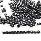 Ailiebhaus Buchstabenperlen Schwarz Herz Perlen Armband Buchstaben Perlen