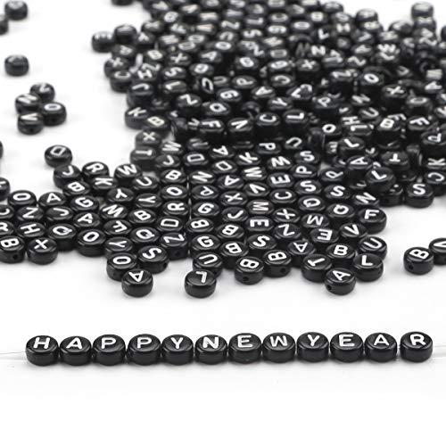 Ailiebhaus Buchstabenperlen A-Z +Nummer Perlen 0-9+Herz Acryl Perlen Rund Alphabet Perlen +10 M Lange Angelschnur Zum Auffädeln Würfelperlen für Armband,Halskette,Schmuck DIY Basteln (Schwarz)