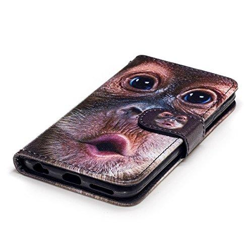 Custodia iPhone 6S 4.7 Cover iPhone 6 4.7,Ukayfe Stitching Colore Flip Case Cover per iPhone 6S 4.7,iPhone 6/6S Lussuosa Astuccio Custodia Cover [PU Leather] [Shock-Absorption] Protettiva Portafoglio  Orangutan 2#