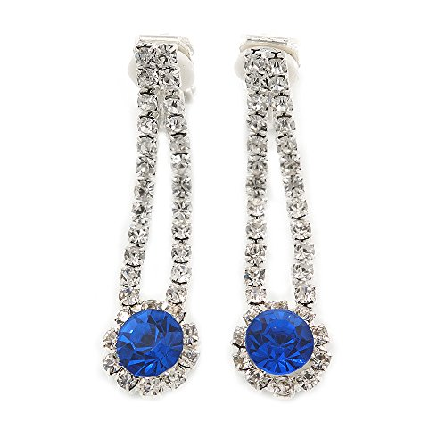 Delicate zaffiro blu/trasparente a clip a goccia in metallo color argento-40mm L