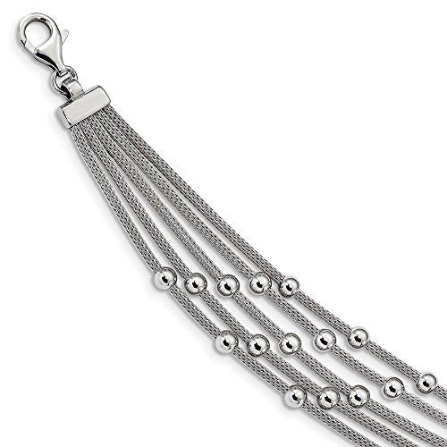 Sterling Silver Rhodium Plated Beaded Mesh Multi Strand Bracelet - 7.25 Inch (Rhodium-mesh-armband)