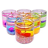 #8: Grasme® Premium Small Pencil Glass Candles Filled with Gel and Decorative Stones, Perfect Diwali Corporate Gift, Birthday, Home Decoration, Spa, 2.5 X 2.5 cm, Multi Color
