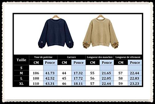 Femme Mode Sweat-Shirt Manches Longues Blouse Lâche Hoodie Avec Bouton Métal Tops Hauts Casual Pulls Élégant Sweater Sport Veste Coupe Cintrée Printemps YOSICIL Abricot