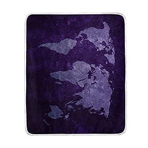 Manta morado mapa del mundo gran tamaño manta mantas para sofá sofá tela de poliéster rey Reina tamaño camas sala de decoración para el hogar ropa de cama colcha para sofá