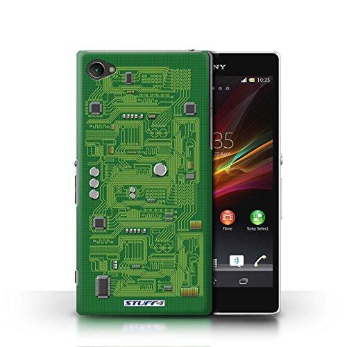 Kobalt® Imprimé Etui / Coque pour Sony Xperia Z1 Compact / Bleu conception / Série Circuit Board Vert