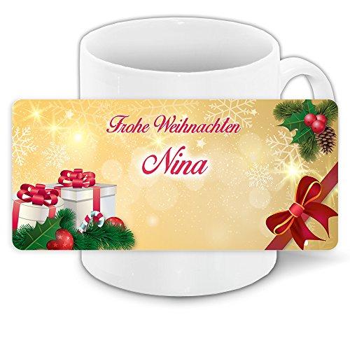 Tasse zu Weihnachten mit Namen Nina und schönem Weihnachtsmotiv 9