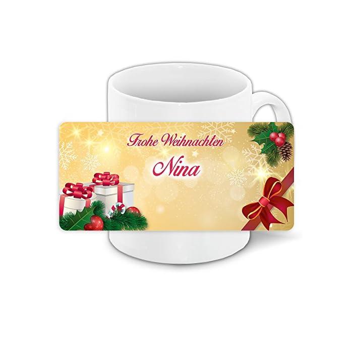 Tasse mit Namen Nina und winterlichem Motiv Bär mit Brille und Pullover - Tasse zu Weihnachten