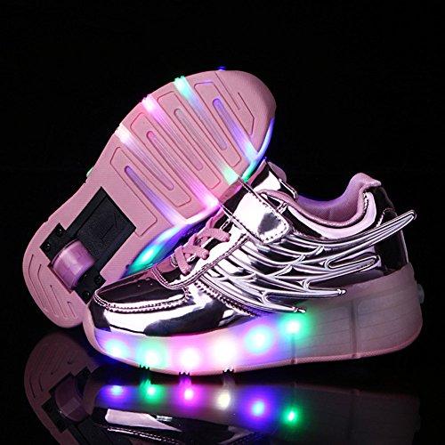 FZUU New 2017 Kind Jazzy Junior Mädchen Jungen LED Licht Roller Skate casual Schuhe für Kinder Kinder leuchtende Turnschuhe mit Rädern Rosa