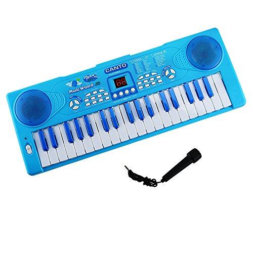 Klavier für Kinder, Shayson 37 Key Multifunktions-Keyboard Piano Play Klavier Orgel mit Mikrofon Pädagogisches Spielzeug für Kleinkinder Kinder Kinder (Blau) Kinder Spielzeug Banjo
