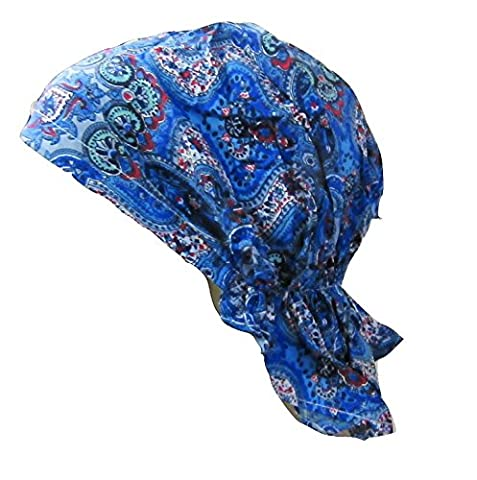 Blue Paisley Bandana Easy to Tie Fitted Headscarf Headwrap Cap