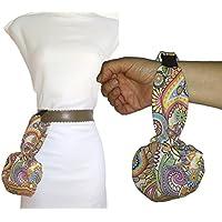 Bolso de mano CACHEMIR, para mujer, Con hebilla clip para colgar en el cinturón. Lavable y más cómodo que riñonera. Handmade Prime