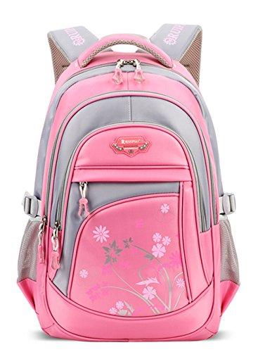 Longzibog Dual verstellbare Schultergurte und Hängeschlaufenband 2016 Neue Schulrucksäcke/Rucksack Damen/Mädchen Vintage Schule Rucksäcke mit Moderner Streifen für Teens Jungen Studenten Pink