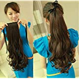 PEMA D-DIVINE Brown Ribbon Ponytail Tie Up Curly Hair Extension