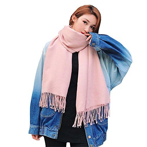 Couple Femmes femmes foulard frangé d'hiver section long châle col étudiant chaud rectangulaire 180cm * 70cm rose,Anniversaire Noël cadeau saint valentin Pink