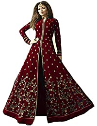 AnK Women's Maroon Georgette Embroidered Semi-Stitched Long Anarkali Salwar Suit