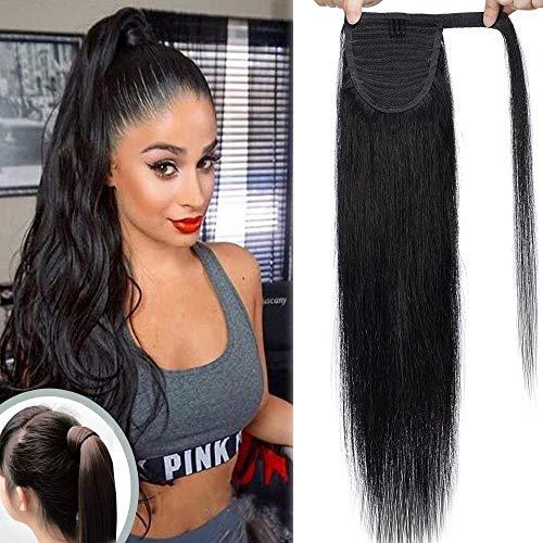 Extension coda capelli veri clip ponytail coda di cavallo parrucchino lisci wrap around umani lunga 20