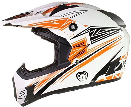 Qtech Casco motocross fuori strada enduro MX VIPER - Nero, ross, arancione, blu - Arancione - L (59-60 cm)