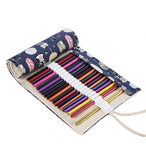 Abaría – Estuche enrollable para lápices y pluma de gel con cepillo dientes funda pare viaje, búho 36 agujeros