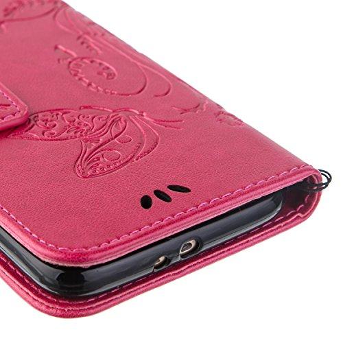Galaxy S6 Hülle,Galaxy S6 Schutzhülle,Galaxy S6 Case,Galaxy S6 Leder Wallet Tasche Brieftasche Schutzhülle,ikasus® Prägung Klee Blumen Muster PU Lederhülle Flip Hülle im Bookstyle Cover Schale Stand S Groß Schmetterling:Rose Red