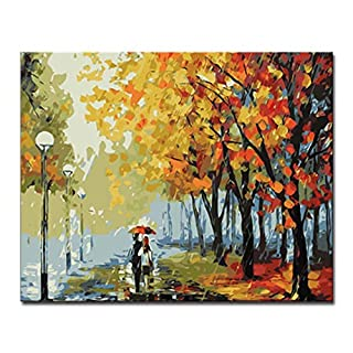 PAINTYTY Diy Digit Oil Painting By Numbers Kits Handpainted Maple Leaf Avenue Pictures On Canvas Home Decor Wall Art Scenery Craft