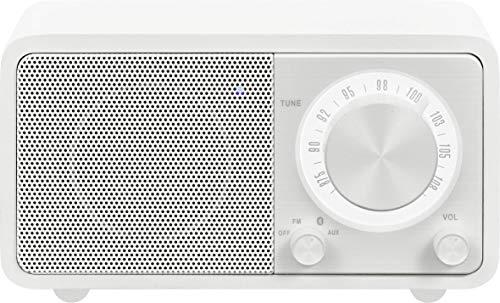 Sangean WR-7 tragbares Desktop-Radio (FM-RDS-Tuner, Bluetooth, AUX-In, integrierter Lautsprecher, Akkubetrieben(aufladbar)) , Matt-Weiß