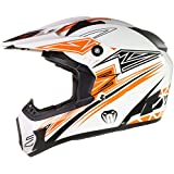 Qtech Viper Casco protector para motocross / todoterreno / enduro / MX - Negro / rojo / naranja / azul - Naranja - M (57-58 cm)