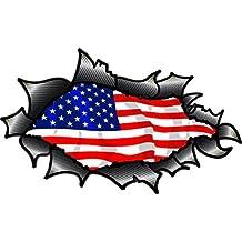 OVALI SQUARCIATO APERTO STRAPPATO FIBRA DI CARBONIO fibra Effetto Design Con Americana Stelle & Strisce bandiera US Motivo Adesivo In Vinile Per Auto 150x90mm
