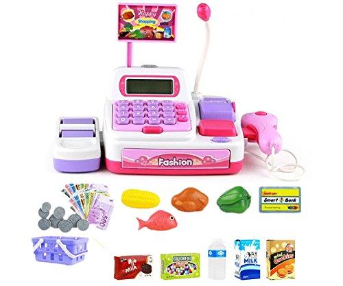 PAMRAY Registrierkasse Spielzeug kaufladen kasse Cash Register Calculator Nachahmung Einkaufen Spielwaren Toy für Kinder 36 Stück 3 Alter und - Taste Register Cash