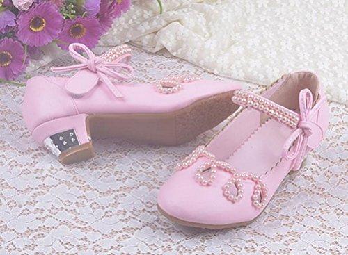 Brinny Mode Douce Élégante Princesse Chaussures en Cuir Fille Perles Arc Velcro Chaussures pour performance/Partie/Soirée/Mariage/Anniversaire/Cadeau Taille: 26-37 pink