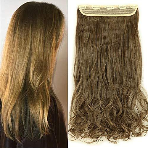 "TESS Haarteil Clip in Extensions wie Echthaar Ombre Haarverlängerung 1 Tresse 5 Clips günstig Gewellt Haarverdichtung 24""(60cm)-120g Braun/Honigblond"
