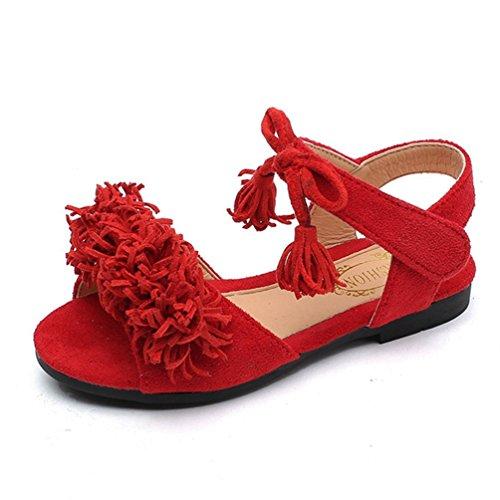 Mädchen Open Toe Strap Sandalen Sommer Outdoor Tassel Prinzessin Flache Schuhe (Kleinkind/Kleines Kind) (Schuhe Kinder Rot-glitzernden)