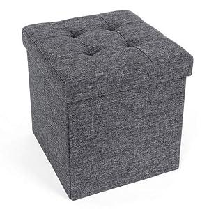 SONGMICS Sitzbank Sitzhocker mit Stauraum faltbar Sitzwürfel Fußablage leinen 38 x 38 x 38 cm Dunkelgrau LSF27Z