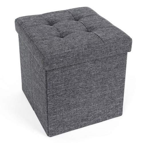 Hocker (Songmics Sitzhocker mit Stauraum faltbar, dunkelgrau, 38 x 38 x 38 cm)
