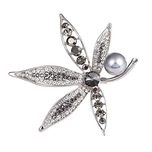 Meigold Broche Diamant Perle Broche Maple Leaf Broche Fille Accessoires Vêtements Cadeau Anniversaire 7 * 8CM Grau
