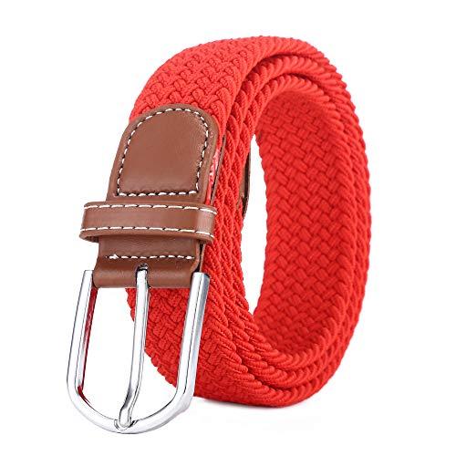Bozevon cintura in tessuto elastico - cintura in tessuto elasticizzato intrecciato elasticizzato multicolore per uomo donna rosso