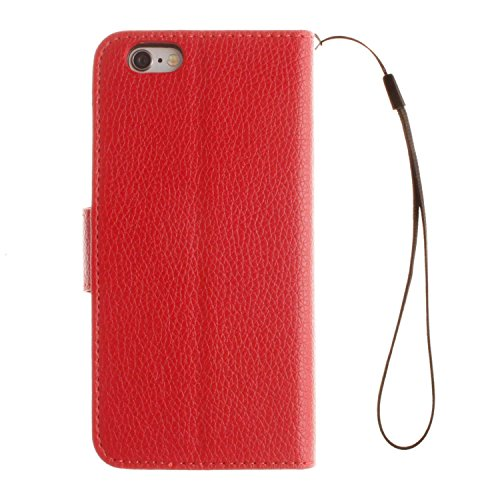 "Portefeuille Coque Pour iPhone 6S [4.7""], iPhone 6 Case Bleu Avec Béquille D'insertion de carte Faux cuir Sangle Série AOFad P134E 7C634 7C633+Red"