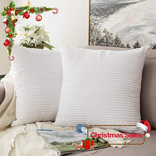 MIULEE Paquete de 2, Terciopelo Soft Solid Decorativa Cuadrado Juego Fundas de Almohada de Lanzamiento Cojín Caso para sofá Dormitorio Auto 18 * 18 Pulgadas 45 * 45 cm, Reines Weiß, 45 x 45 cm