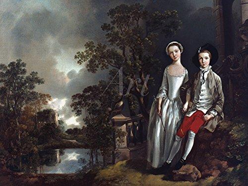 Artland Alte Meister selbstklebendes Poster Thomas Gainsborough Bilder Heneage Lloyd und Seine Schwester Lucy 1750 Wandbild Romantik Gemälde Kunstdruck 45 x 60 cm K1QD
