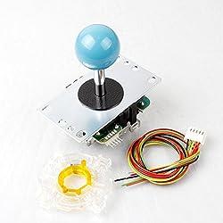SANWA Jlf-TP-8yt Stick 8Way 5pin Poignée + SANWA GT-y octogonal Gate pour Arcade Joystick MadCatz Te Bâton Jeu Mame et Raspberry Pi & PS2PS3Xbox 360DIY Kit Pièces (Bleu)