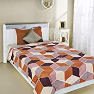 Amazon Brand - Solimo Hearty Hazel Microfibre Printed Quilt Blanket, 120 GSM, Brown, Single