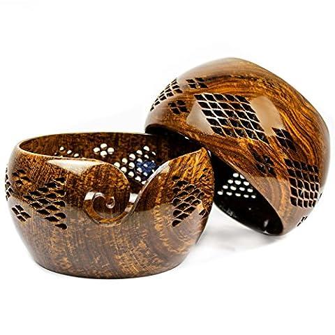 Bois de Rose en bois Fil de stockage de bol avec trous sculptés et perceuses | à tricoter Crochet Accessoires | Nagina International (Petite taille) L marron