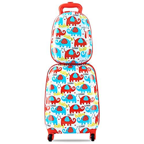 COSTWAY 2tlg Kinderkoffer + Rucksack Kofferset Kindergepäck Reisegepäck Kindertrolley Hartschalenkoffer (Blau)
