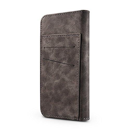 EKINHUI Case Cover Retro Style abnehmbare magnetische Leder Tasche mit großem Capard Card Cash Slots und Secure Niet Gürtelschnalle für iPhone 6 Plus und 6s Plus ( Color : Gray ) Gray