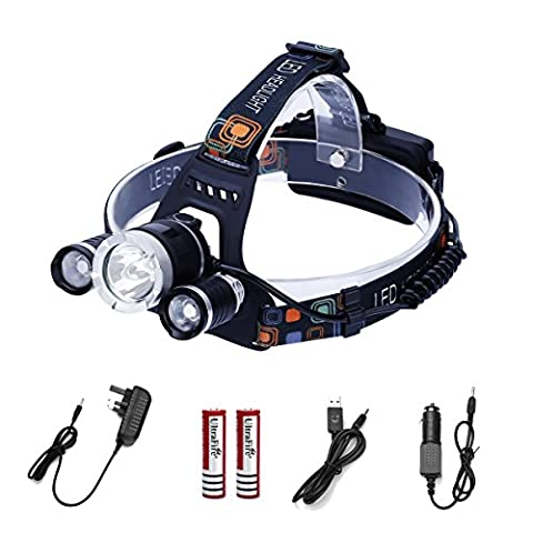ECOLUX® Rechargeable LED Head Torch Light with 4 Modes, 6000 lumens Waterproof Headlamp, 3* XM-L T6 Adjustable Headlight Flashlight Head Lamp for Camping Hunting Hiking Running Walking Bicycling Outdoors Light