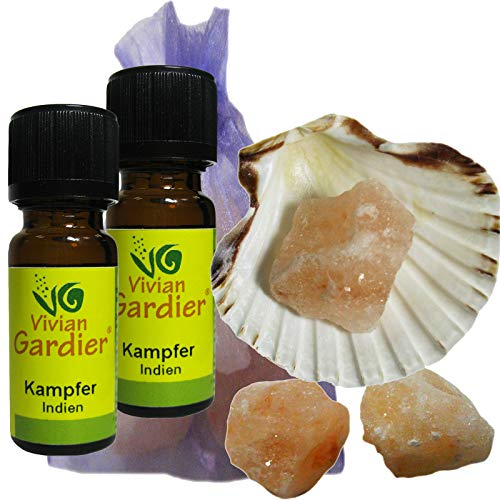 KAMPFER/KAMPHER Öl ätherisch + NATURREIN 2 x 10ml von VIVIAN GARDIER, kontrollierter Anbau #50011 | 7-teilig. Aromatherapie Duft-Set mit Muschel, 3 x Sole-Kristalle, Duftsäckchen. -