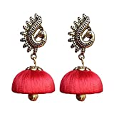 #10: Designer fashion stylish silk thread earrings jhumkas for girls women party wear