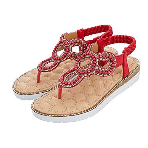 SHE.White Damen Sommer Perlen Flip Flops Sandalen Bohemian Flach Zehentrenner Sandaletten mit Strass Große Größe Frauen Schuhe Gummiband Sommerschuhe (Einfache Geist Schuhe)