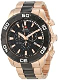 Swiss Precimax Men s SP12055 Valor Elite Black Dial with Rose-Gold Stainless-Steel Band Watch